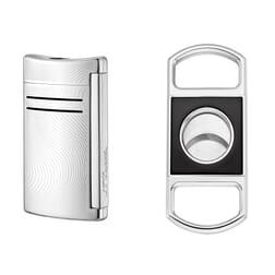 S.T. Dupont MaxiJet Lighter Chrome Grey Vibration met Sigarenknipper